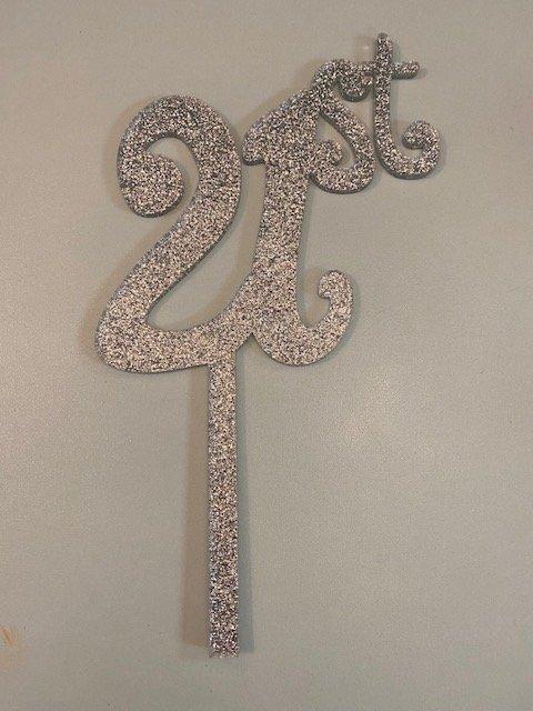 21st Silver Glitter Acrylic Cake Topper