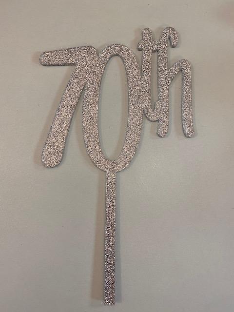 70th Silver Glitter Acrylic Cake Topper