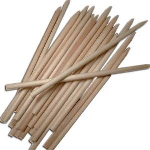5 1/2  pointed wood apple stick 25 count