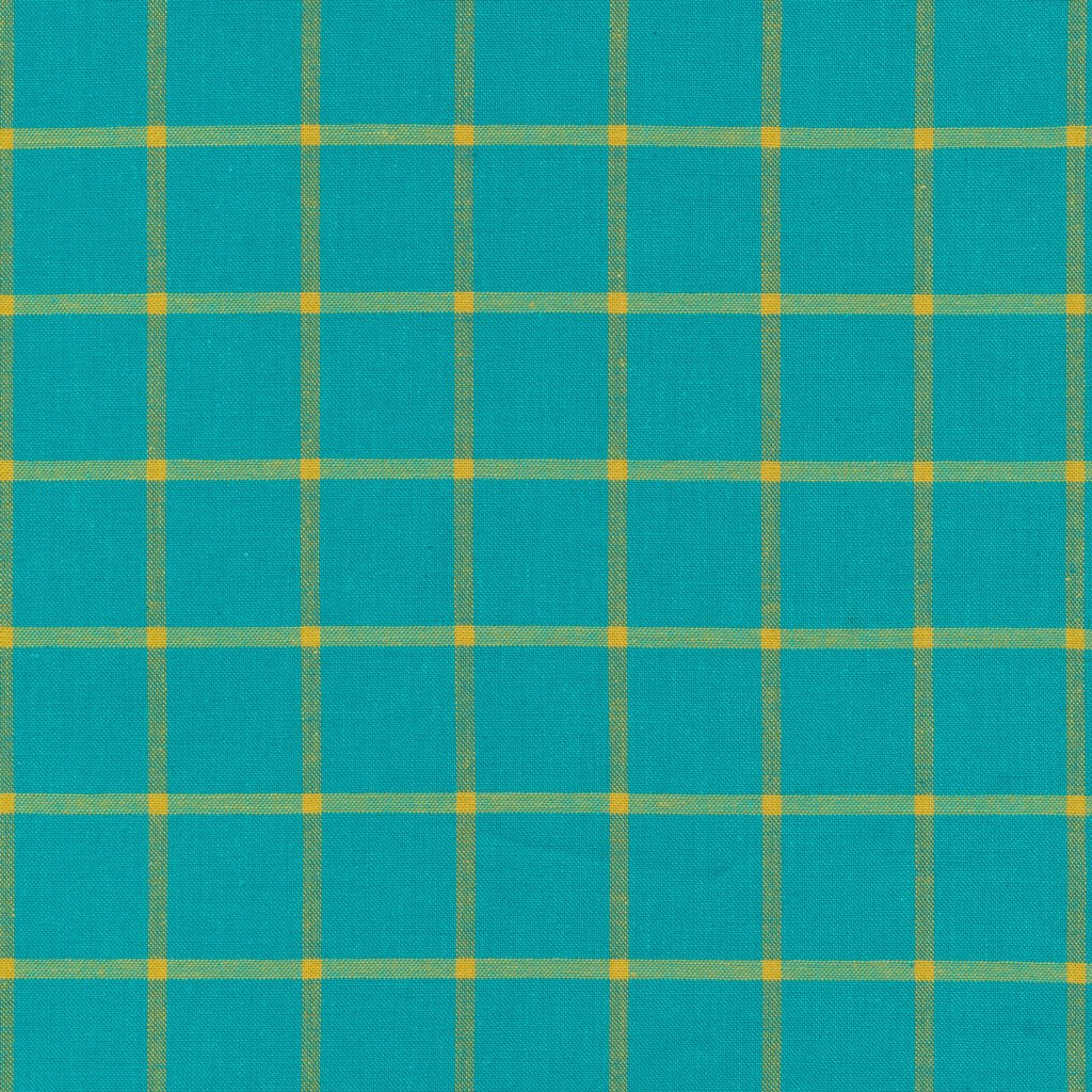Window Dressing Plaids in Turquoise/Amber by Cloud9