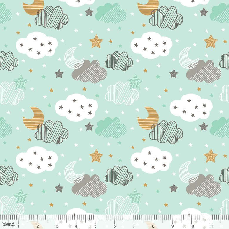 1 Yard 2 REMNANT - Sweet Dreams in STARY NIGHT BLUE by Maude Asbury from Blend Fabrics