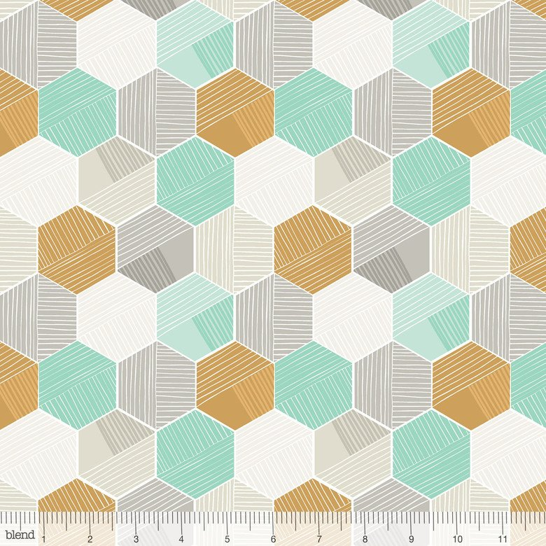 Sweet Dreams in HONEYCOMB BLUE by Maude Asbury from Blend Fabrics