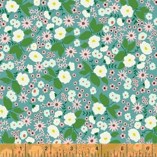 20  REMNANT    Packed Floral in Teal from Maribel by Annabel Wrigley