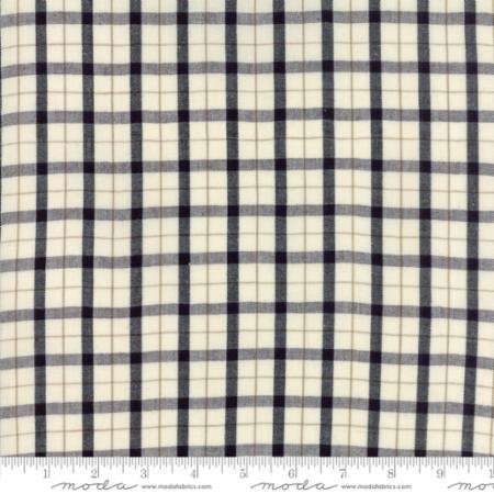 33 REMNANT - Homespun Gatherings Wovens in Tartan Plaid Cresent Iron Black Natural from Moda