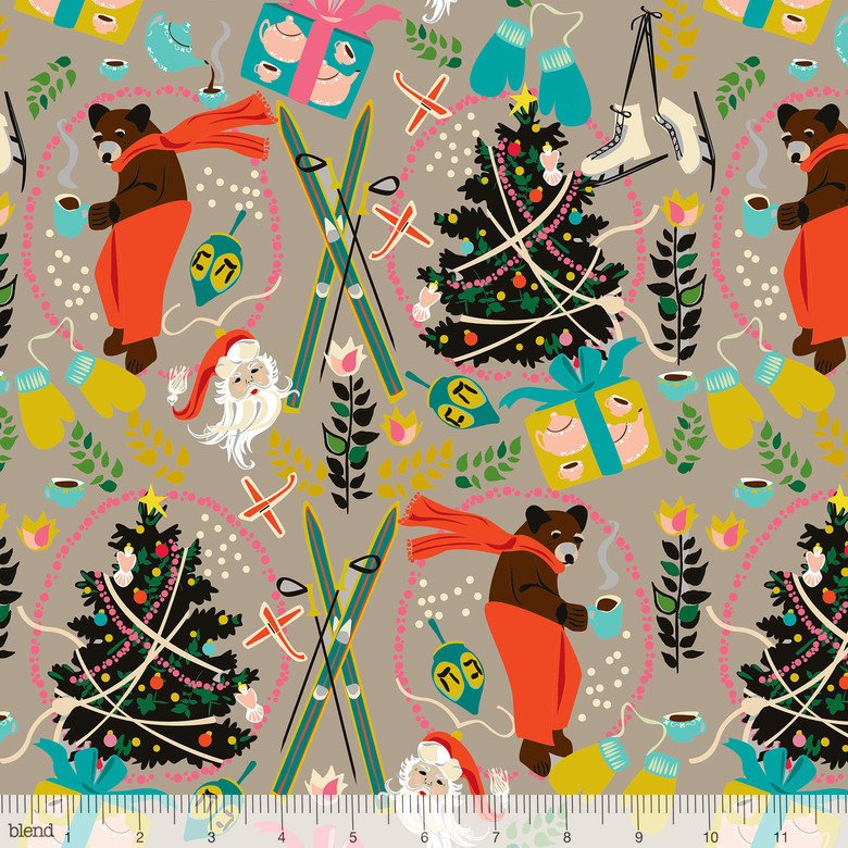 2 Yards 7 - A Bear's Holiday Taupe by Elizabeth Grubaugh for A Winter's Tail from Blend Fabrics
