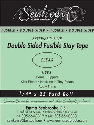 SewkeysE Double Sided Fusible Stay Tape - Extremely Fine - 1/4 Clear