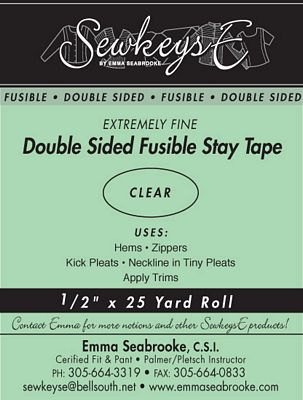 SewkeysE Double Sided Fusible Stay Tape - Extremely Fine  - 1/2 Clear