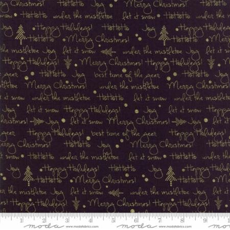 2 Yards - White Christmas in Holiday Greetings Black by Zen Chic for Moda Fabrics