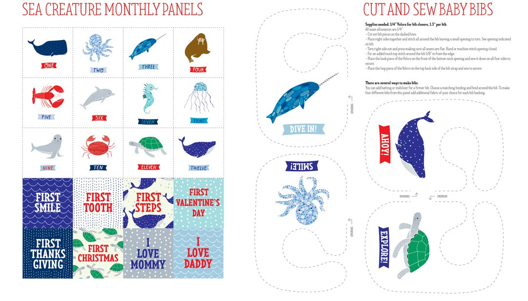 Ahoy Sea Creatures PANEL by Gingiber from Moda