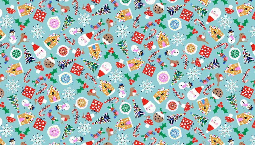 21 Yards 21 - Icons Blue from Jolly Santa by Makower UK