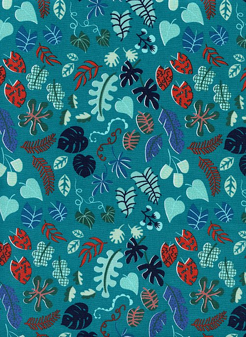 Leafy Wonder Teal from Lagoon by Rashida Coleman-Hale for Cotton + Steel