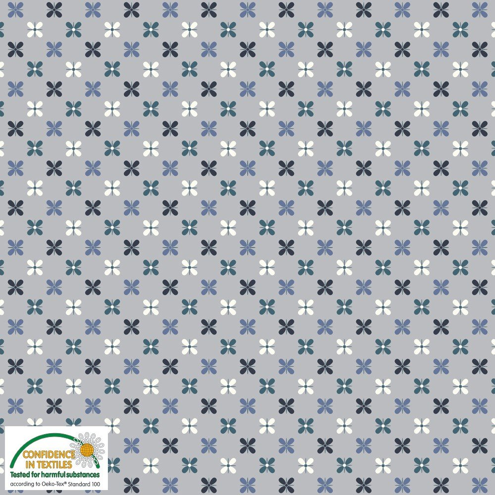 915eac2045a Blue Flowers on Gray Stof Avalana Jersey Knit by STOF Fabrics