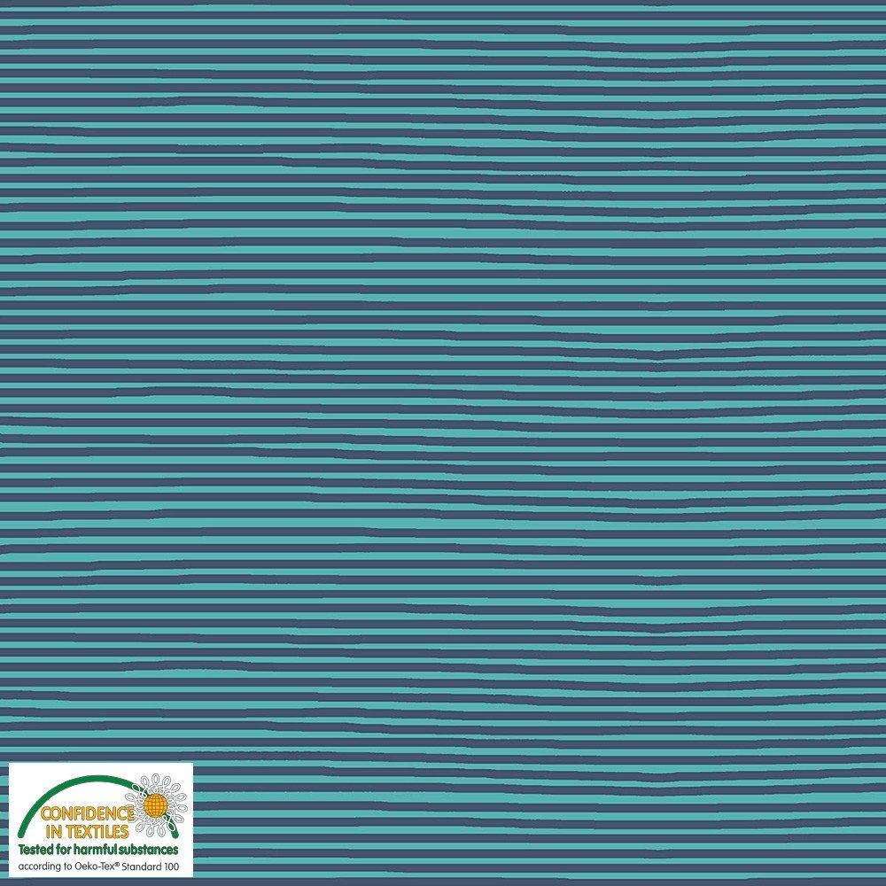 Horizontal Stripe Teal & Navy Stof Avalana Jersey Knit by STOF Fabrics