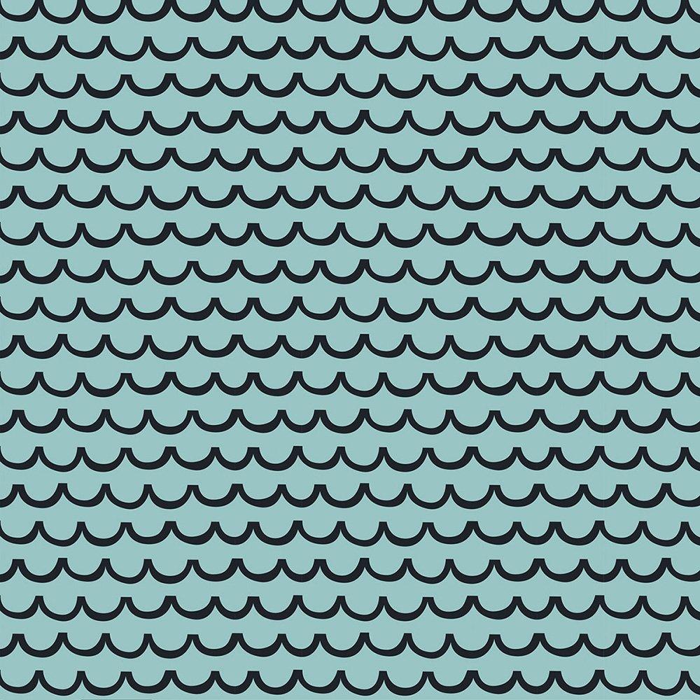 1 Yard 28 - Waves Aqua - AVALANA Jersey by STOF Fabrics