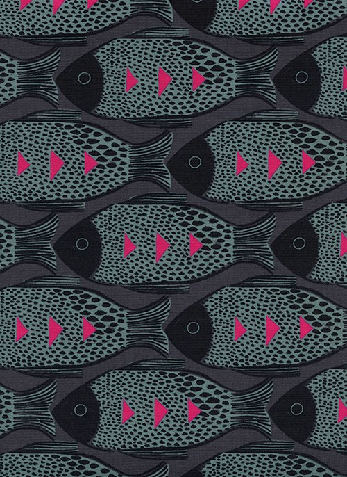 Fish Charcoal from Magic Forest by Sarah Watts for Cotton + Steel