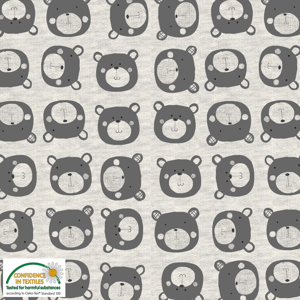 AVALANA Sweat Melange (bear print) by STOF Fabrics