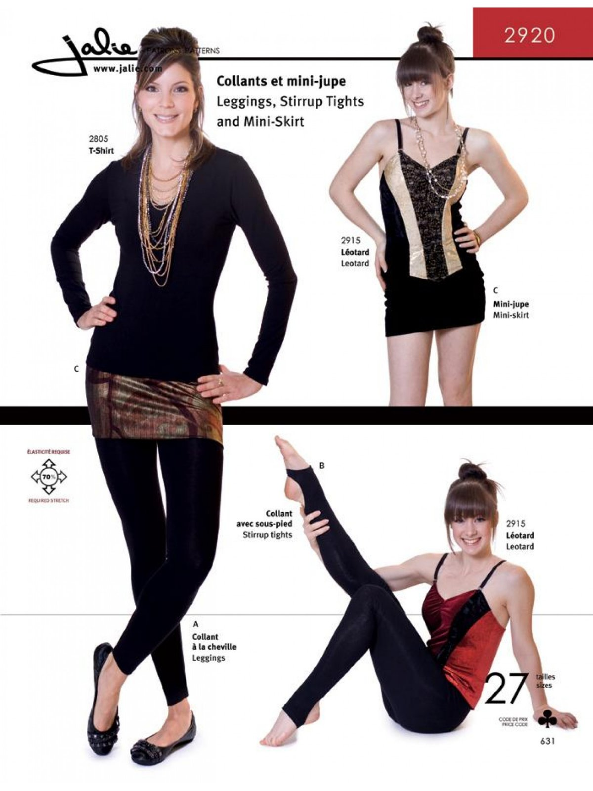 Jalie Patterns Leggings, Stirrup Tights and Mini-Skirt #2920
