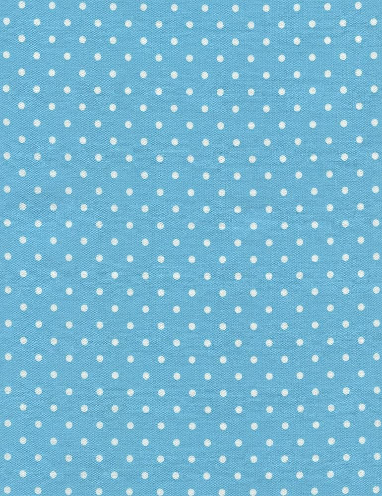 28 REMNANT - Timeless Treasures Polka Dot Basic - Aqua