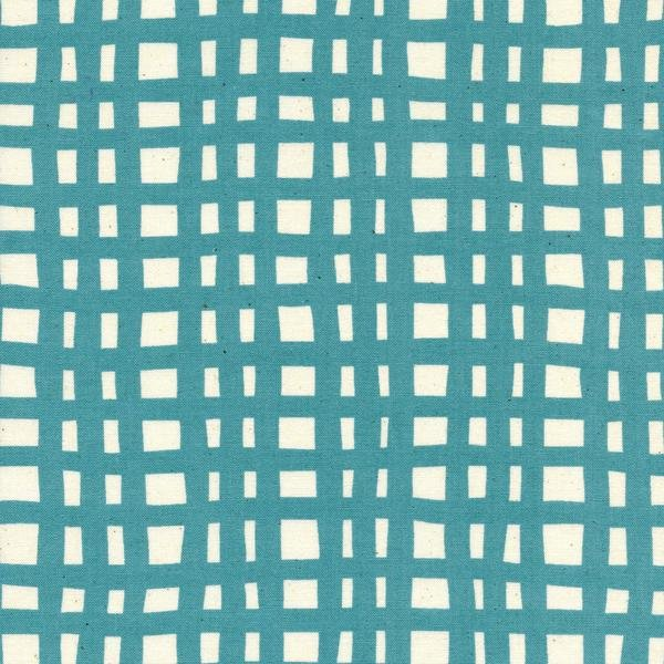 Yours Truly in Going Steady Grid Teal by Kimberly Kight for Cotton and Steel