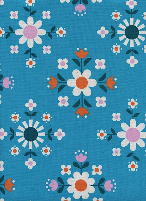 Florametry Bright Blue from Welsummer by Kim Kight for Cotton + Steel