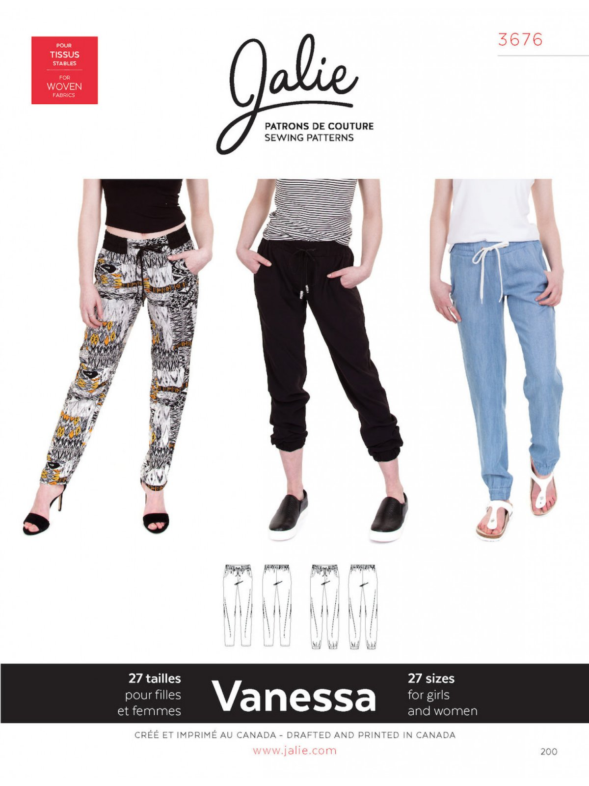 Jalie Patterns VANESSA Fluid Pants #3676