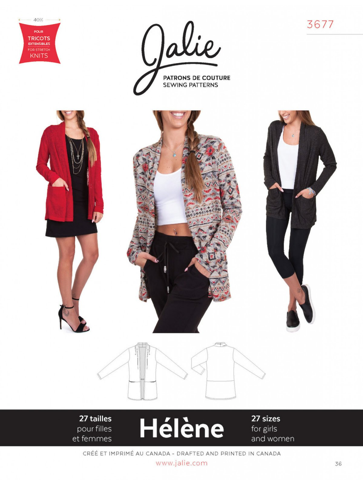 Jalie Patterns HELENE Shawl Collar Cardigan #3677