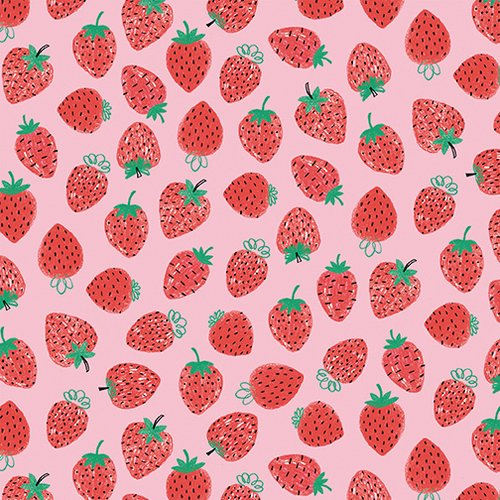34 REMNANT - Strawberries Pink from Summerlicious by Lucie Crovatto for Studio E