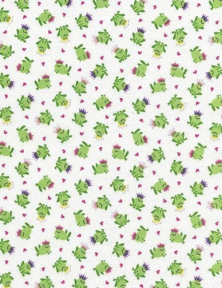Timeless Treasures Frog Prince C2474-White