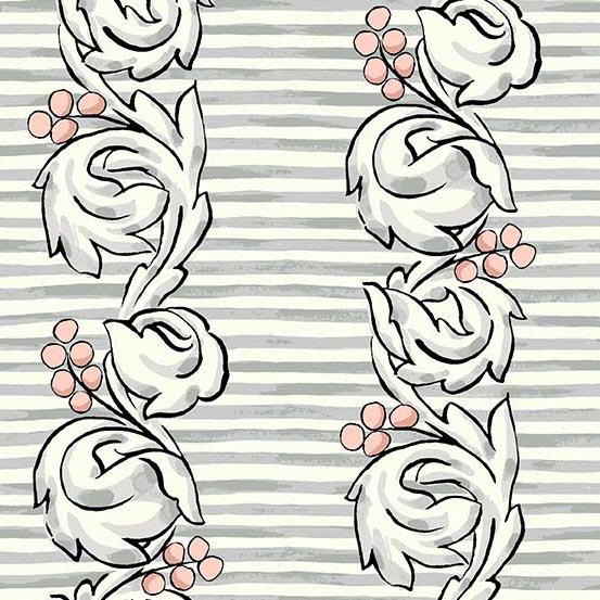 1 Yard 9 REMNANT - Flourish in Scroll Tea Rose by Molly Hatch from Andover Fabrics