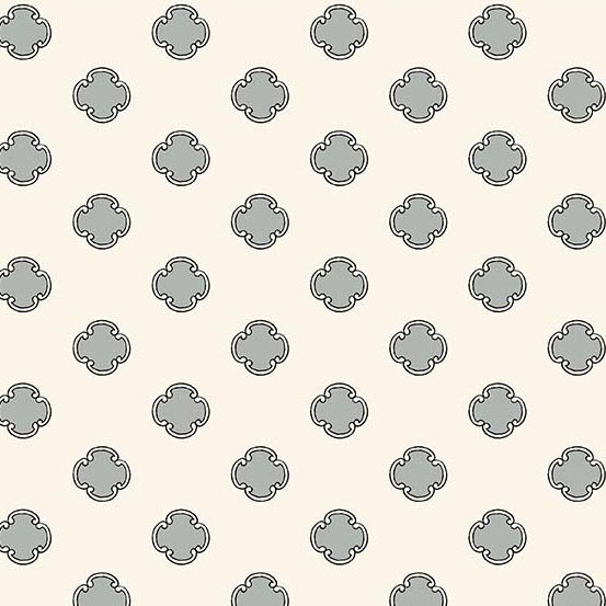 Flourish in Scrolling Dot Slate by Molly Hatch from Andover Fabrics