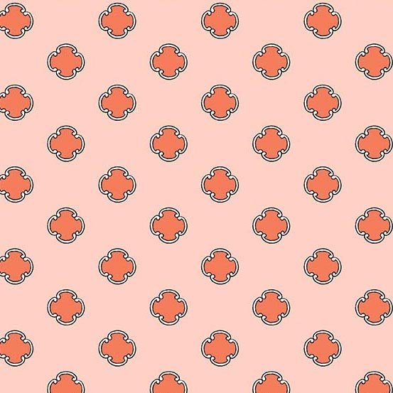 Flourish in Scrolling Dot Salmon by Molly Hatch from Andover Fabrics