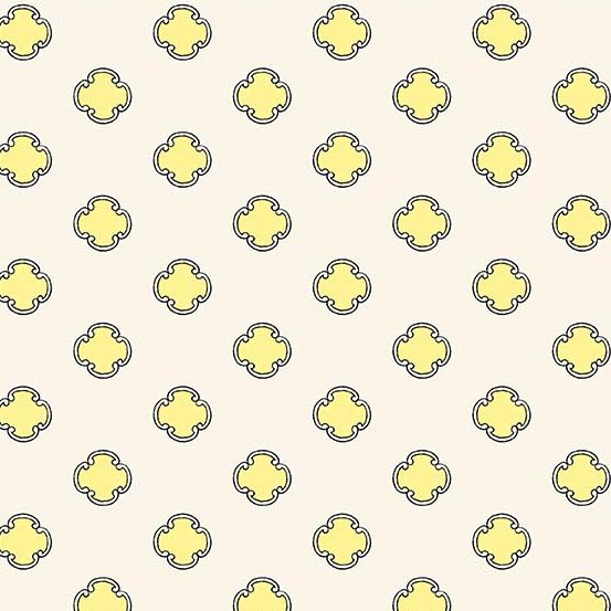 Flourish in Scrolling Dot Canary by Molly Hatch from Andover Fabrics