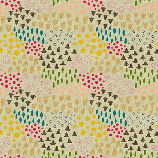20 REMNANT - Tiger Plant LINEN in Folk Floral Daybreak by Sarah Golden for Andover Fabrics