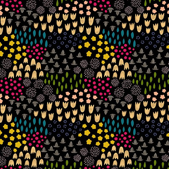 35 REMNANT - Tiger Plant LINEN in Folk Floral Midnight by Sarah Golden for Andover Fabrics