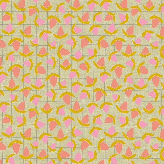 Tiger Plant LINEN in Flower Buds by Sarah Golden for Andover Fabrics