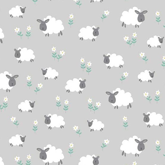 10 REMNANT - Counting Sheep in Meadow Silver in Andover Fabrics
