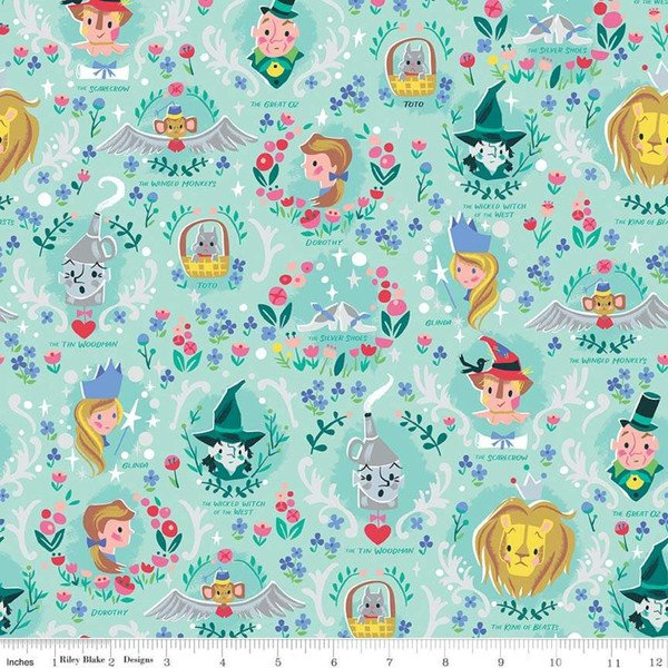 Dorothy's Vignette Mint With Silver Sparkle from Dorothy's Journey from Jill Howarth for Riley Blake - Wizard of Oz Fabric - copy