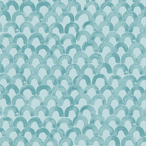 1 Yard 11 REMNANT - Scales in Teal for By Hand by Amy Friend for Contempo