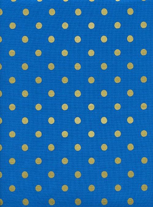 Caterpillar Dots Cobalt Metallic from Wonderland by Anna Bond of Rifle Paper Co for Cotton + Steel