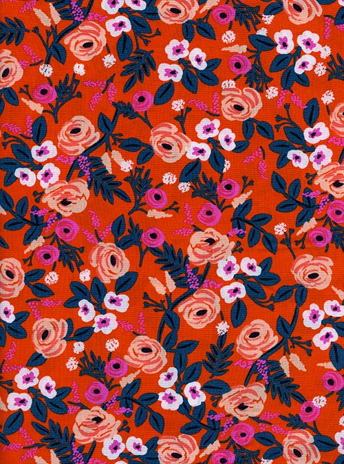 23 REMNANT - Paint Roses Orange Rayon from Wonderland by Anna Bond of Rifle Paper Co for Cotton + Steel