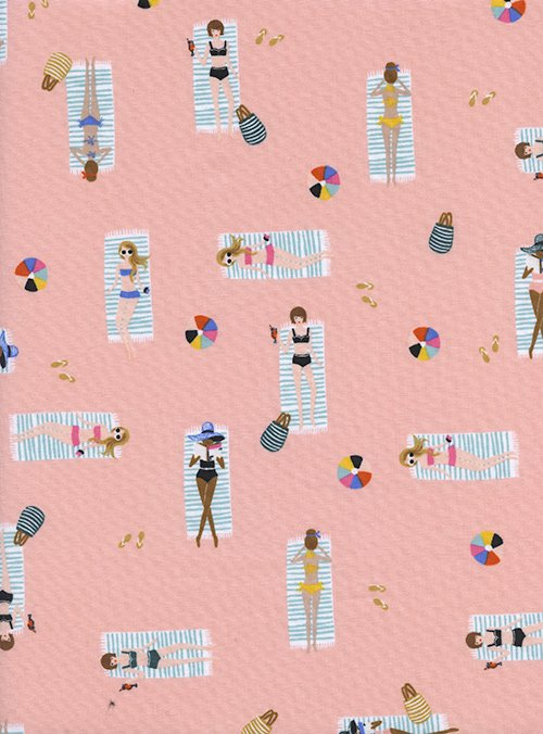 Sun Girls Coral from Amalfi by Anna Bond of Rifle Paper Co for Cotton + Steel