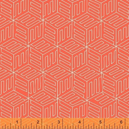 1.25 Yards - Mono Box in Coral from Maribel by Annabel Wrigley
