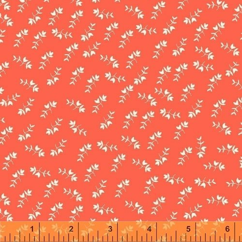 3 Yards 21 REMNANT - Mono Floral in Coral from Maribel by Annabel Wrigley