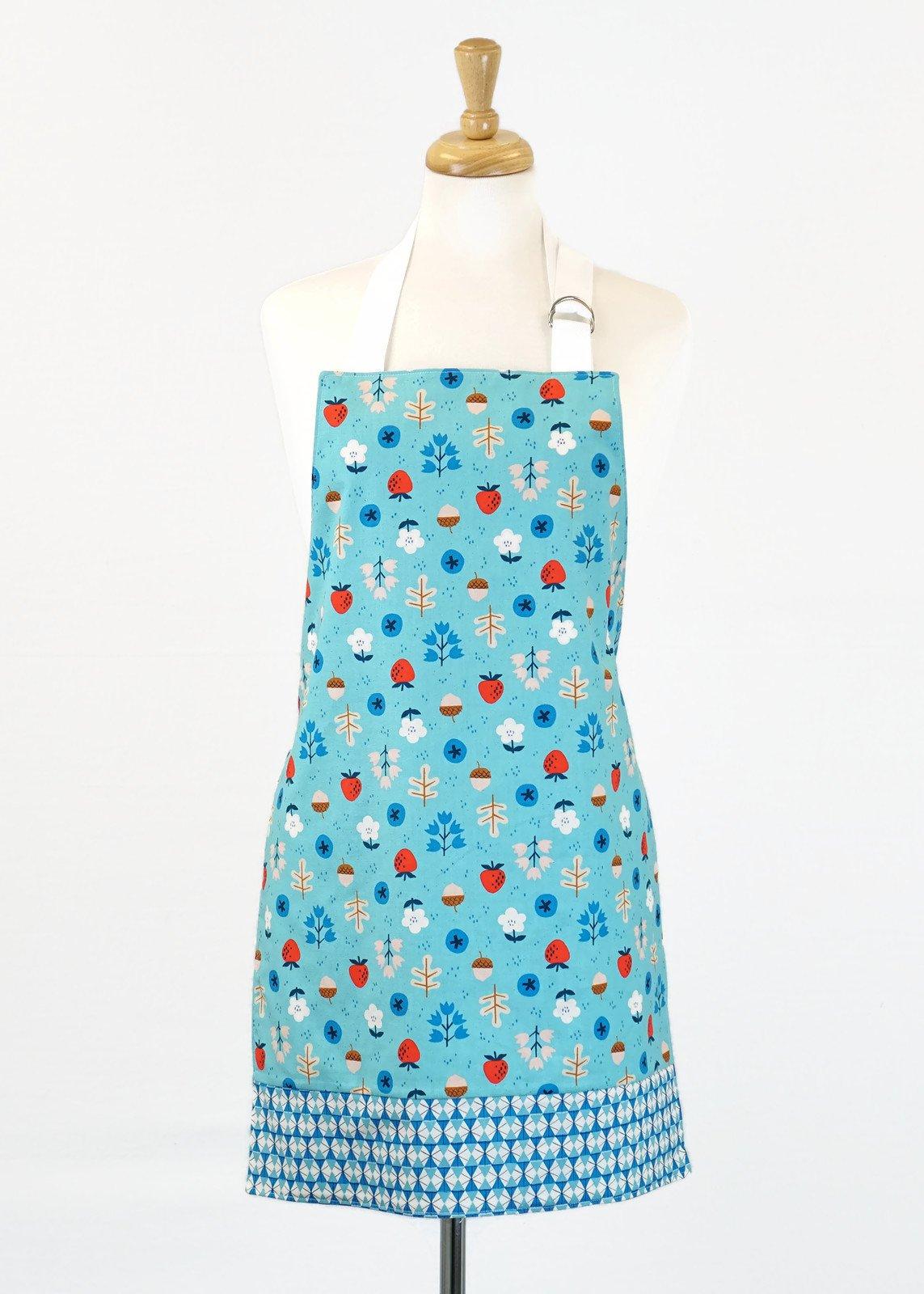 Women's Apron - Aqua with Acorns and Strawberries