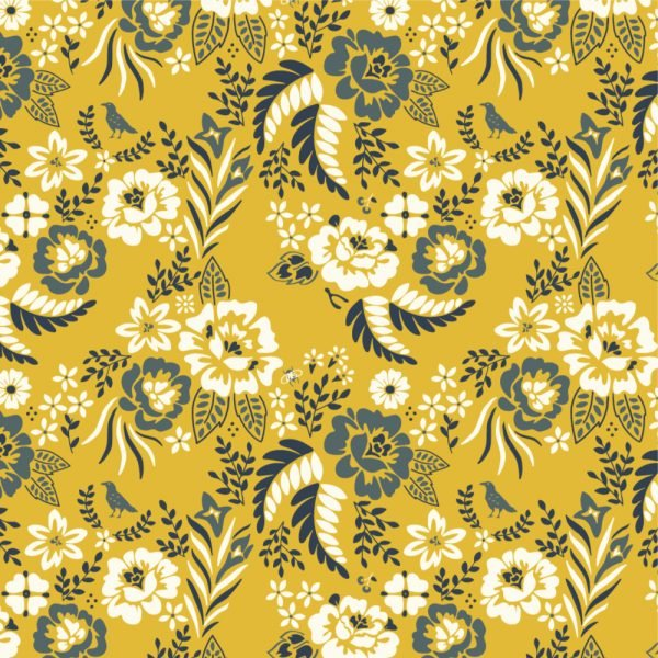 Merryweather CANVAS in Merry Floral Marigold from Birch