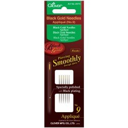 Black and Gold Hand Sewing Needles (Applique/Sharps No.9-10-12)