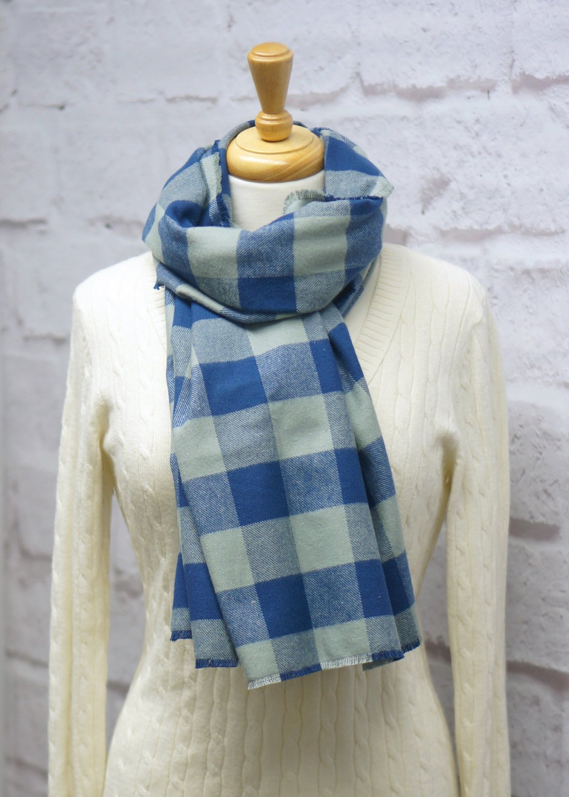Blue & Gray Plaid Blanket Scarf