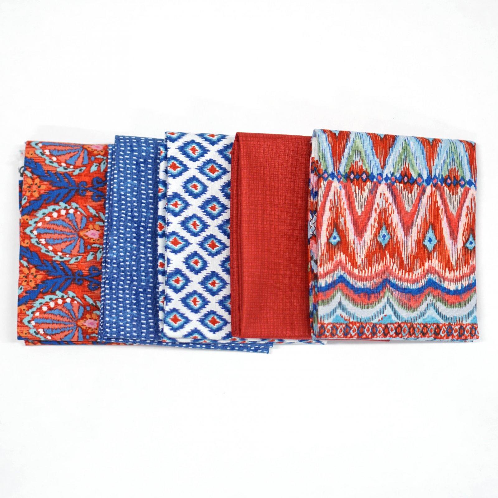 Red & Blue Boho- Crosscut Sewing Custom Bundle - (5) Half Yards