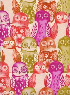 Wise Owls Fuchsia from Firelight for Cotton + Steel