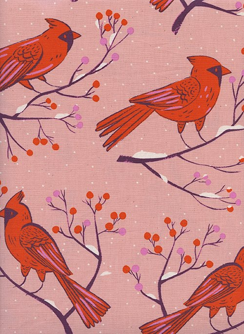 Frost in Winter Cardinals Pink for Cotton + Steel